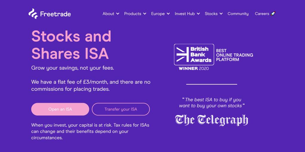 Stocks & Shares ISA account on Freetrade costs £3 per month.