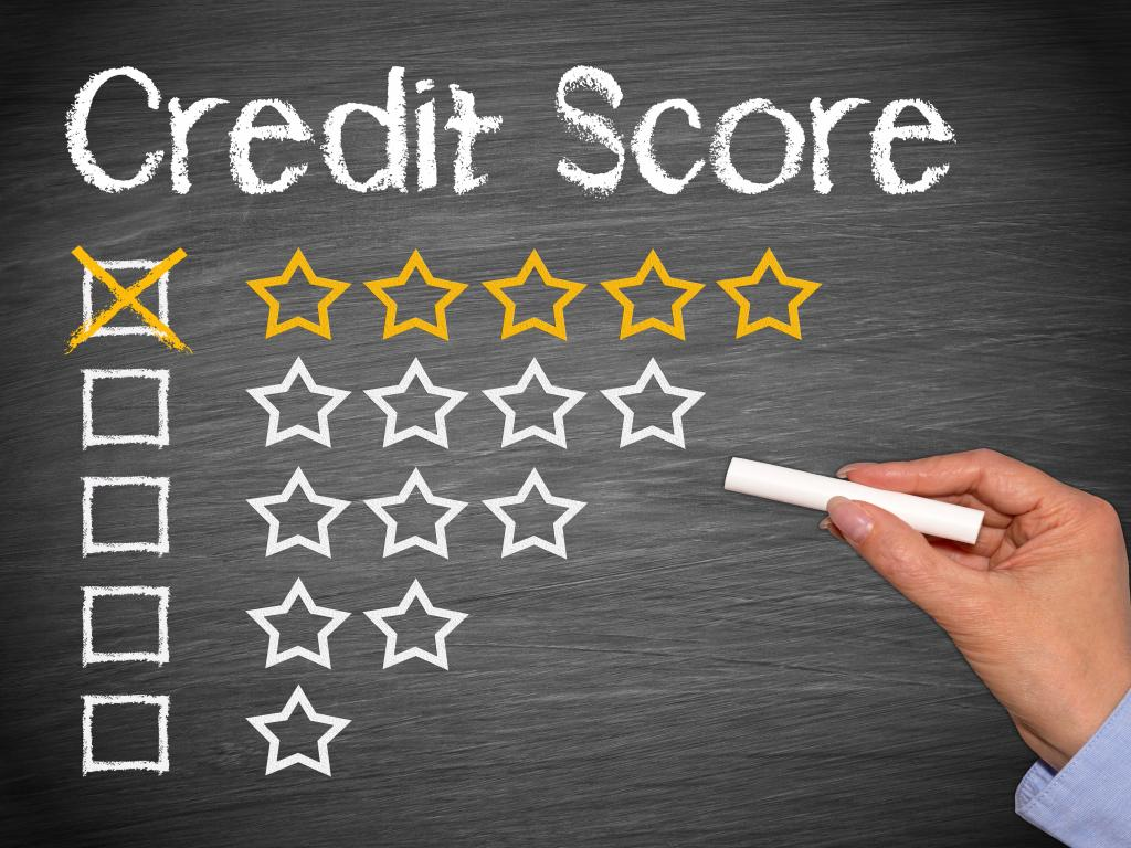 Getting a great credit score - graphic drawn on a chalkboard