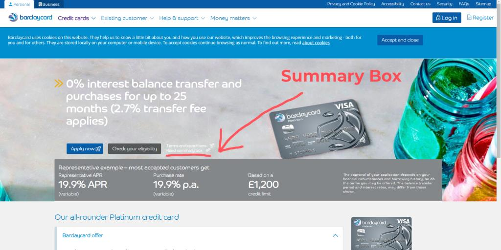 Where to find the Summary Box detailing credit card fees and charges on the Barclaycard website